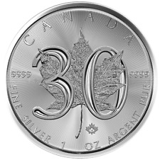 2018 $5 Silver Canadian Maple Leaf 30th 1 oz Brilliant Uncirculated