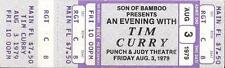 ROCKY HORROR Tim Curry  Unused Concert Ticket 1979 Michigan