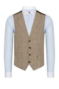 Jack Martin - Brown & Cream Check Houndstooth Collared Tweed Waistcoat