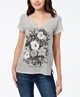 Lucky Brand 150968 Women's Printed Cutout Graphics V-Neck Tee White Sz. Medium