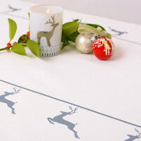 Luxurious Designer Christmas Tablecloth 100% Cotton Choice Of Lengths Grey Stag