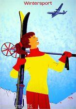Switzerland Suisse Ski Snow Winter Sport European Travel Advertisement Poster