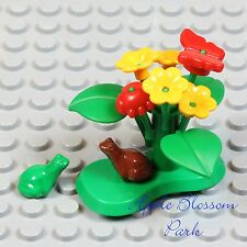 NEW Lego Minifig LILY PAD Green Plant w/Red Beetle Butterfly Yellow Flower Frog