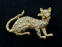 Vintage Cat Kitty Brooch Pin Gold Tone Aurora Borealis AB Crystal Rhinestones