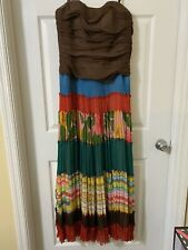 BCBG MAXAZRIA Multi Color Floral Silk Strapless Long Flamenco Dress Lined sz 10