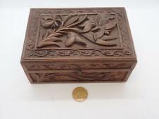 Antique Black Forest Carved Wood Box Jewelery Keepsakes Tea Caddy Flowers Iris