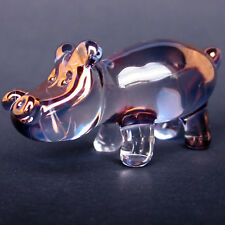 Hippo Hippopotamus Figurine Hand Blown Glass Crystal
