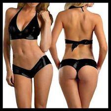 4163 - Sexy metallic black pvc hipster shorts & bra twin lingerie set Sz 10/12