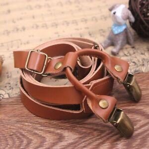 Mens Adjustable Genuine Leather Wedding Party Suspenders Y-Back Clip-On Braces
