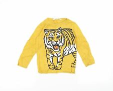 H&M Girls Yellow  Knit Pullover Jumper Size 3-4 Years  - Tiger