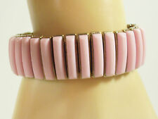 BERGERE Pink Thermoset Expansion Bracelet Expanding Gold Plate Cuff Vintage