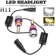 Pair H11 Car LED Fog Light Driving DRL Bulbs White Yellow Dual Color 6000K&3000K