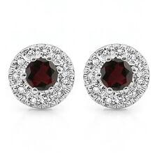 LOVELY 3/5 CARAT GARNET & (22 PCS) DIAMOND 10KT SOLID WHITE GOLD EARRINGS