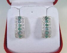 EMERALD & WHITE SAPPHIRE EARRINGS 1.18 CTW - WHITE GOLD over 925 STERLING SILVER