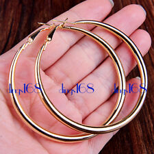 "Women's 18K YELLOW Gold Filled Fashion 1.95"" Large Tube Hoop Earrings H2G-50mm"