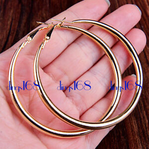 "Women's 18K YELLOW Gold Filled Classic 2.36"" Large Round Hoop Earrings H2G-60mm"