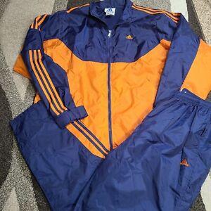 VTG Adidas Tracksuit Mens XL Blue Orange Windbreaker Zip Leg Pants EUC