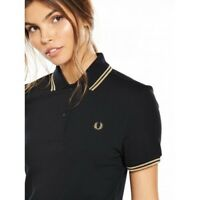 Fred Perry black polo with gold tipping size 10
