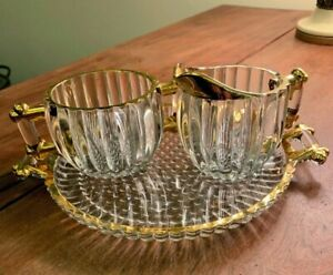 Vintage Gold Trimmed Cream & Sugar On Tray Clear Glass Ribbed Pattern