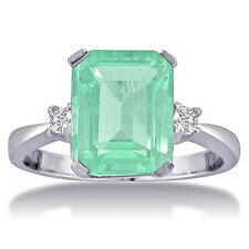 14K WHITE GOLD 1CT EMERALD CUT GREEN AMETHYST AND DIAMOND RING, SIZES 4-9.5