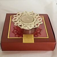 New Lenox Snow Lights Snowflake Votive Candle Holder Porcelain Cream Tealight