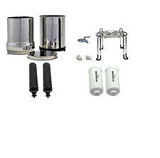 Crown Berkey Water Filter 2 Black 2 Fluoride and Stainless Steel Spigot / Stand