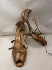 BCBG GIRLS BRONZE LEATHER Ankle Tie Up High Heel Strappy Sandals Shoes Sz 7 1/2M