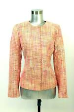 TALBOTS Pink Orange Boucle Blazer Jacket MODERN Womens Full Zip Business SMALL 6