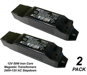 2 x ATCO Iron Core Magnetic Downlight Transformers 240V - 12V 50W AC Stepdown