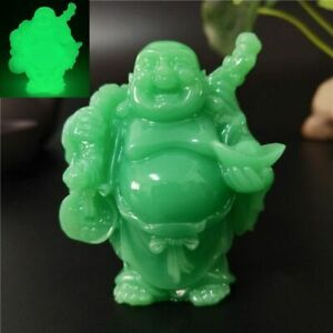 Laughing Buddha Statue Glowing Maitreyan Sculpture Manmade Jade Stone Figurines