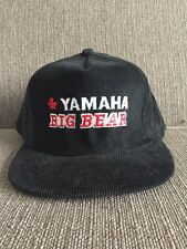Vtg Yamaha Big Bear Black Corduroy Trucker Hat Snap Back Canada 80's ATV Quad