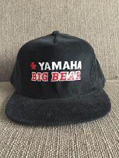 Vtg Yamaha Big Bear Black Corduroy Trucker Hat Snap Back Canada 80's ATV Quad