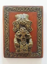 Original Zarebski Set 5 Mexico Wall Plaques Mayan Deities Crushed Stone Vintage