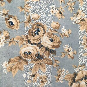 Lovely Antique French Mid 19th C. Block Print Chintz  Picotage Cotton Roses Blue