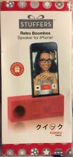 Red Retro Boombox Battery-Free Speaker W/Hands-Free Stand for iPhone 5,5S,6 -NEW