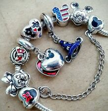 Disney Love Minnie Kiss Mickey Hat Flag Heart Mouse Safety Chain European Charms