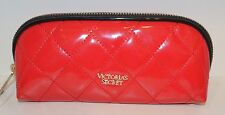 VICTORIA'S SECRET RED QUILTED SHINY BEAUTY BAG MAKEUP COSMETIC CASE TRAVEL SMALL