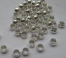 100 Quetschperlen, versilbert, 3,5 mm, rund. Crimps, Metallperlen, Beads,