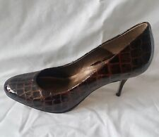 Bertie Womens Ladies Brown Patent Leather High Heel Court Shoes Size 7/40 Used