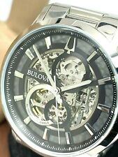 Bulova Men's Watch 96A208 Automatic Skeletonized Black Dial Stainless Steel 43mm