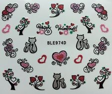 Valentines Lips Cats & Love Hearts 3D Design Nail Art Stickers Decals  NEW (974)