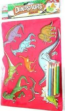 Dinosours Stencil Set Washable Animal Shape Assorted Colour Pens Games Fun Craft