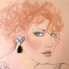 Vintage Sterling Silver Black Onyx Artisan Handmade Earrings