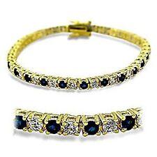 14K GOLD EP 4 CT DIAMOND SIMULATED SAPPHIRE TENNIS LINK BRACELET