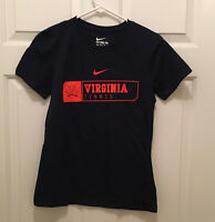 New UVA Cavaliers Women's Tennis Team Issued Nike Blue Orange T-Shirt Medium