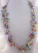 "Chunky Multi Color Czech Glass Bead Necklace 30"" Magnetic Fashion Jewelry NEW"