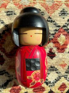 Wooden Japanese Kokeshi Doll Red Kinono