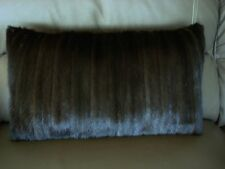 "1 SHINY DARK BROWN MINK FUR PILLOW 21"" by 13""  FREE USA SHIPPING cushion throw"