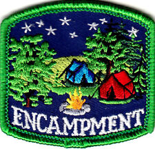 """ENCAMPMENT"" - CAMPING - TRIP - VACATION - TENTS - Iron On Embroidered Patch"