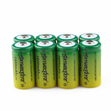 8pcs SKYWOLFEYE 16340 CR123A LR123A 3.7V 1800mAh Li-Ion Rechargeable Battery
